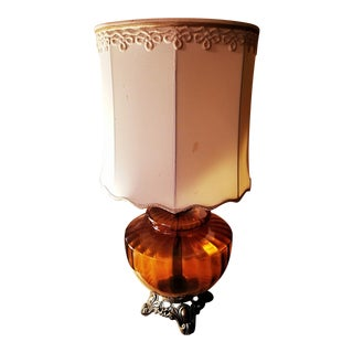 Vintage Amber Glass Lamp