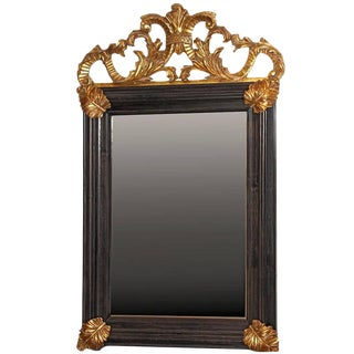 Italian Baroque Style Mirror With Hand-Carved Gilt & Aged Glass