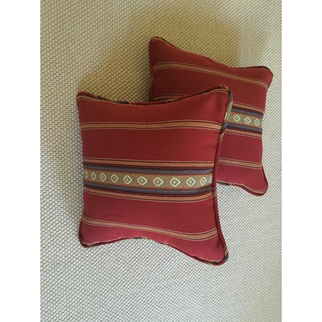 Red Southwestern Stripe Pillows - A Pair - Image 9 of 9
