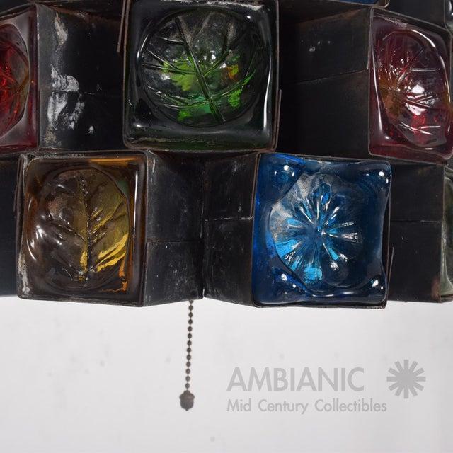 Feders Pendant Ceiling Fixture Handblown Glass and Steel Brutalist Chandelier - Image 6 of 8