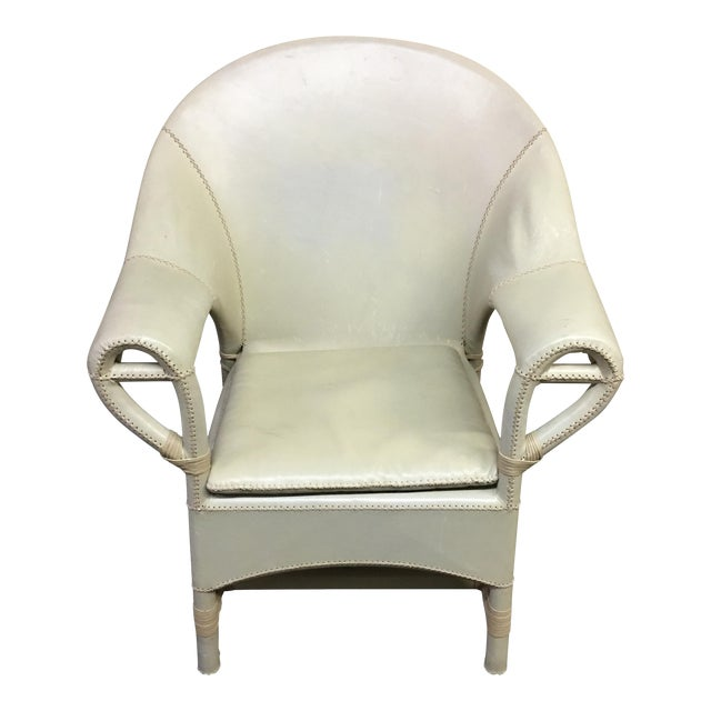 Vintage Leather Wrap + Stitching Armchair - Image 1 of 9
