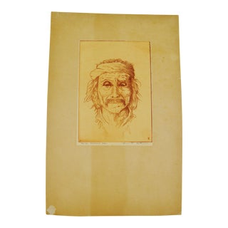 "Bruce H. Eastman Pencil Signed ""Navajo Medicine Man"" Native American Print"