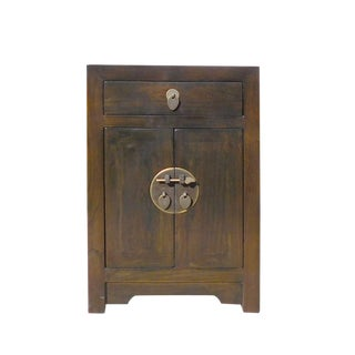 Chinese Dark Brown Round Moon Face End Table Nightstand