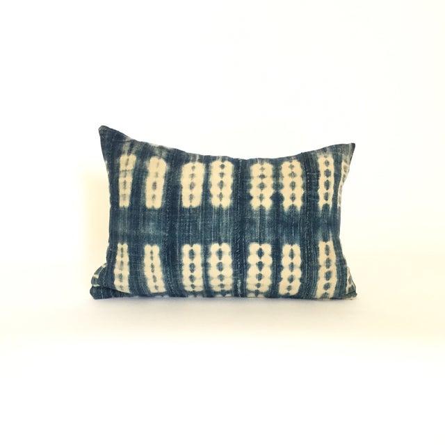 Vintage African Striped Indigo Batik Pillow - Image 2 of 4