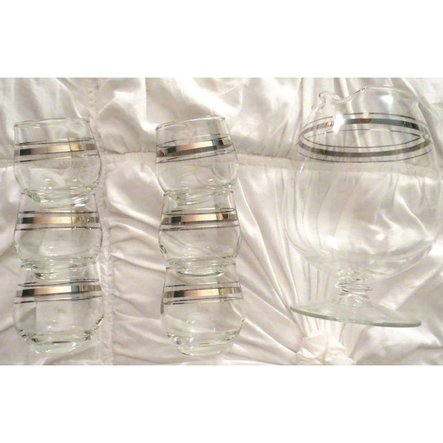Image of Vintage Silver Rim Glass Pitcher & Cups - Set of 6