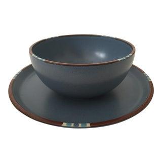 Dansk Mesa Sky Blue Ceramic Round Platter & Bowl
