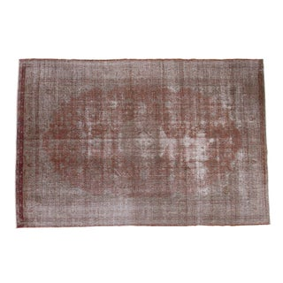 "Brown Distressed Oushak Carpet - 6'7"" x 10'"