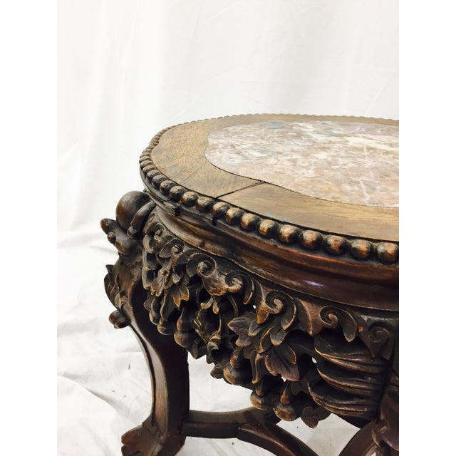 Chinese Carved Rosewood & Marble Table - Image 8 of 11