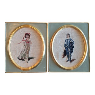 Late 1800s Needle Point Portraits - A Pair