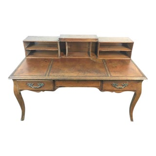 Carved Maple & Leather Inlay Desk