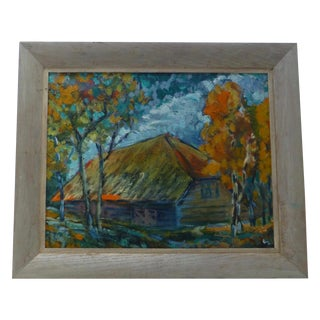 Impressionist New England Cabin in Woods Painting