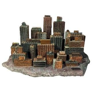 1969 Vintage Large Mid Century Metal City Sculpture by Arthur Boxer