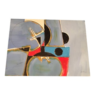 Vintage 1970s Ronald Ahlstrom Signed Blue Abstract Acrylic Painting