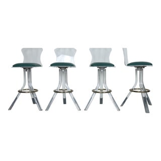Set of 5 Lucite and Brass Barstools