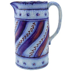 Antique English Flow Blue Luster Jug