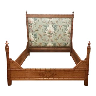 19th C. French Faux Bamboo Maple Queen Size Bed