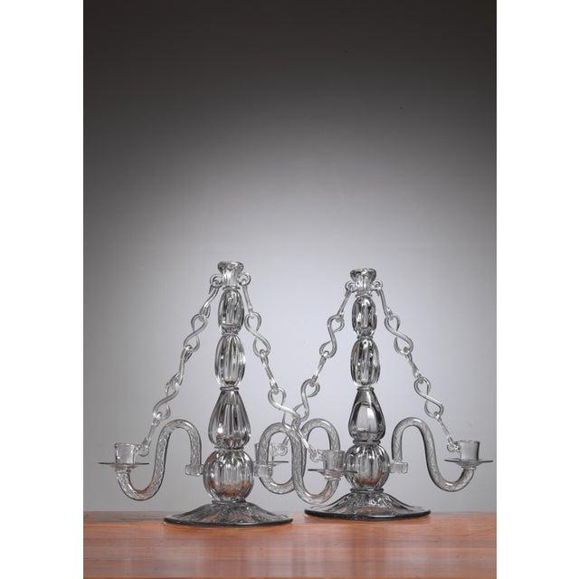 Gerda Stromberg and Knut Bergqvist Pair of Glass Candelabra, Sweden, 1941 - Image 3 of 3