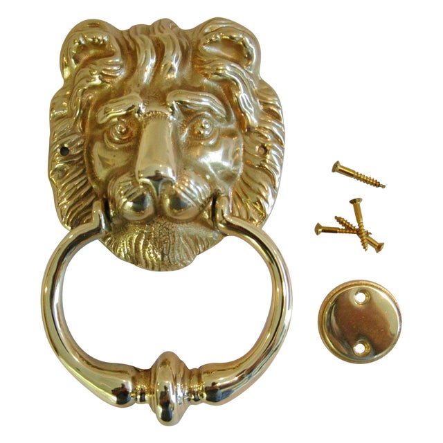 Vintage Brass Lion Door Knocker with Strike Button - Image 1 of 3