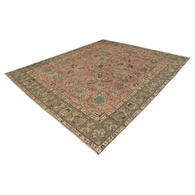 Vintage Persian Traditional Style Tabriz Rug - 10' x 11' - Image 5 of 6