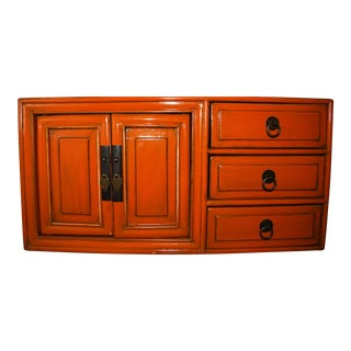 Asian Orange Lacquered Tansu Chest of Drawers Chinese Japanese