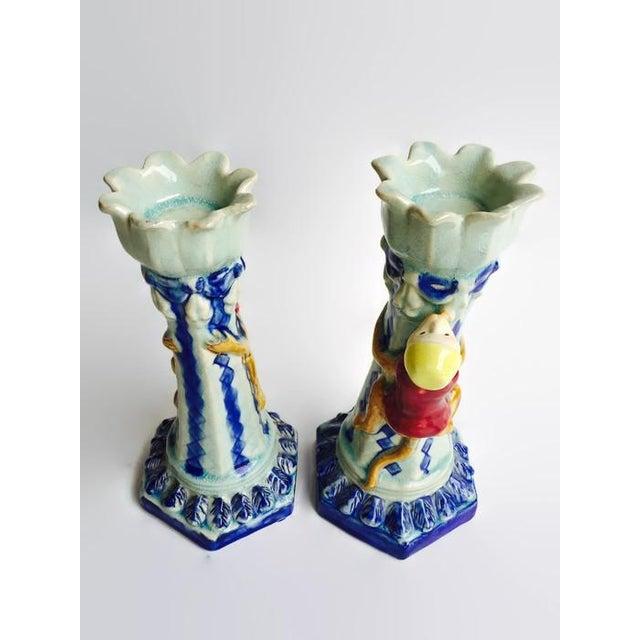 Vintage Ceramic Monkey Votive Candlesticks- A Pair - Image 2 of 6