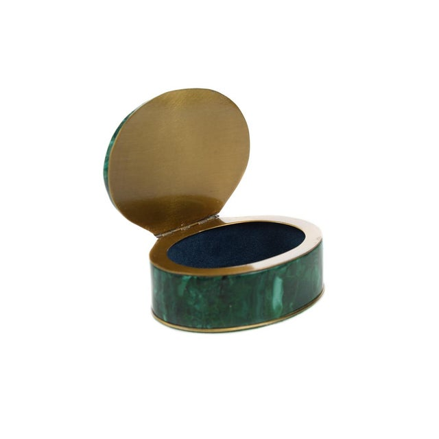 Russian Malachite Oval Compact Jewelry Box - Image 2 of 8