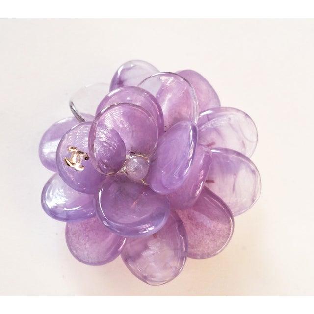 Image of Chanel Purple Gripoix Camellia Pendant Brooch