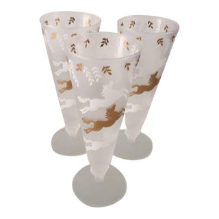 Mid-Century Flying Horses Frosted Tall Glasses - Set of 3