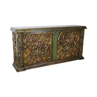 Hand Carved Italian Rococo Style Large Back Bar