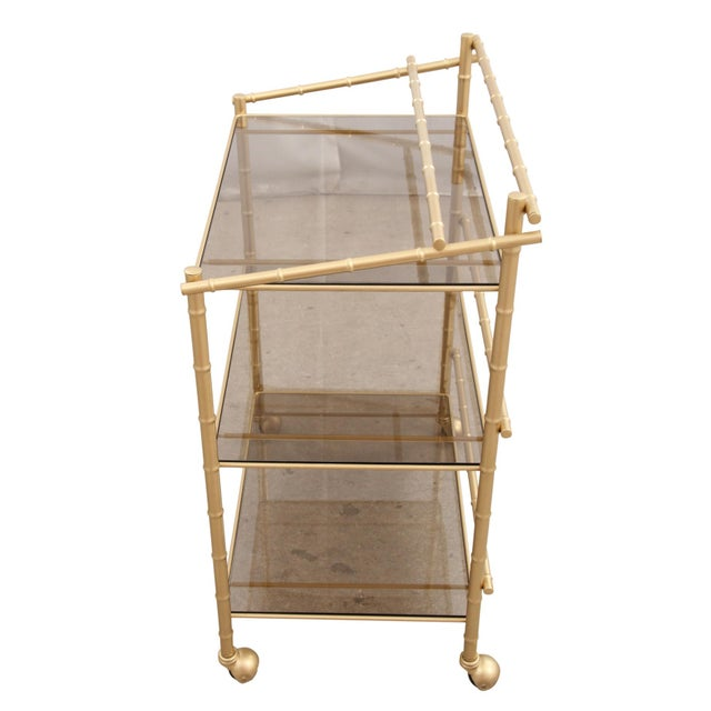 Chinoiserie Faux Bamboo Bar Cart - Image 6 of 7