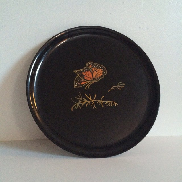 Couroc Vintage Black Butterfly Tray - Image 2 of 7