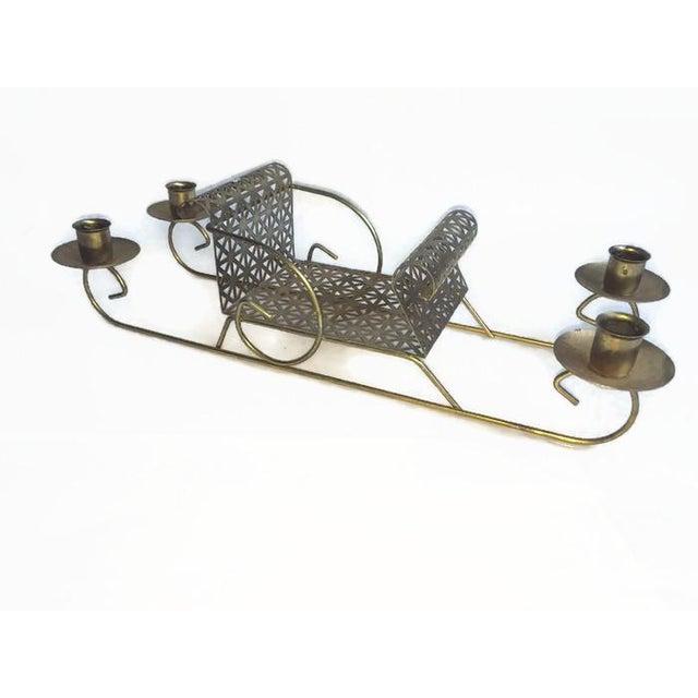 Mid-Century Pierced Metal Sleigh Candleholder - Image 2 of 8