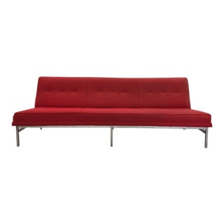 Mid-Century Modern Red Tweed & Chrome Sofa
