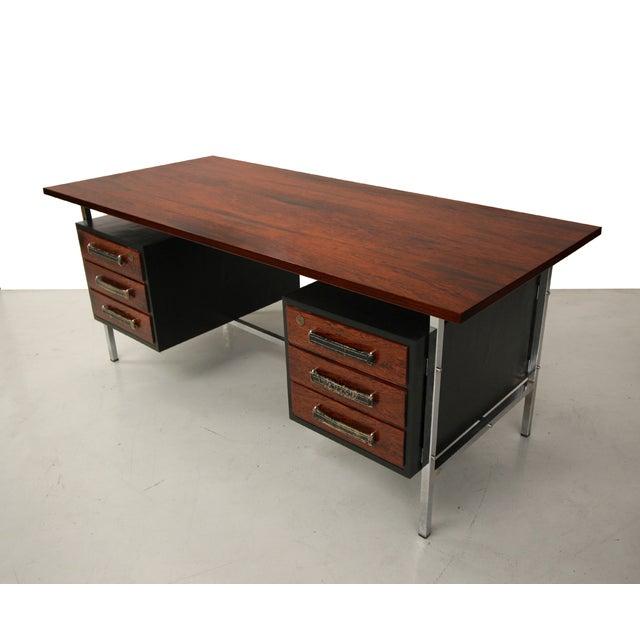 Mid-Century Floating Rosewood & Chrome Desk - Image 5 of 7