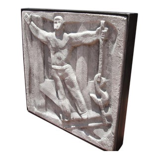"Wall-Mounted Cast Concrete Art Deco Plaque Entitled, ""Industry"""