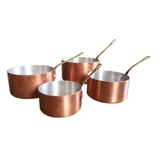 Vintage French Copper Pots - Set of 4