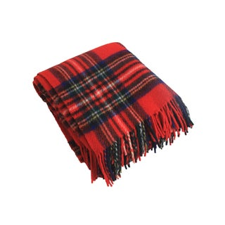 Vintage Red Tartan Wool Throw