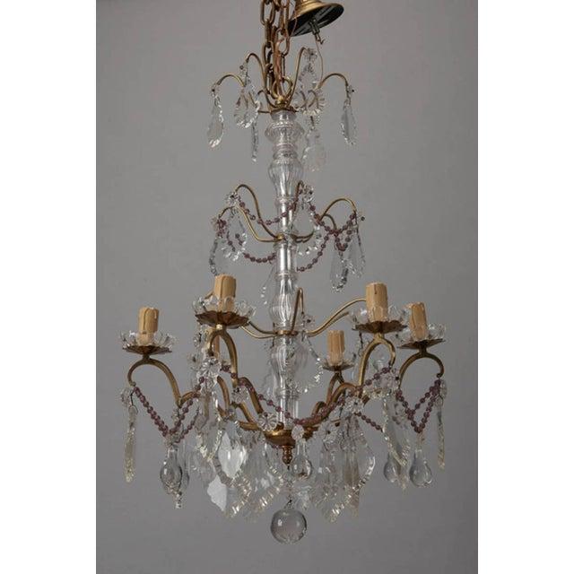 Italian 6-Arm Crystal Chandelier w/ Amethyst Beads - Image 3 of 6