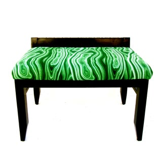 Vintage Malachite Upholstered Bench