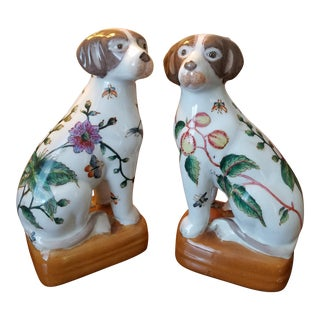 Chinese King Cavalier Spaniel Dog Figurines - a Pair