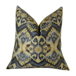 Blue & Taupe Handmade Ikat Pillow