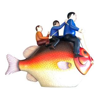 """Fat Fish With Rider Boys"" Ceramic Fish Sculpture"