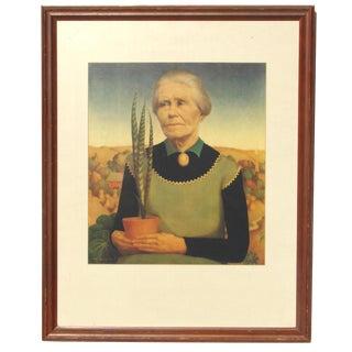 "Grant Wood ""Woman With Plants"" Vintage Gelatone Print"