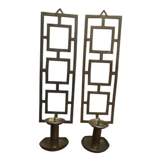 Pair of Vintage Indian Nora Fenton Decorative 70's Mid Century Brass Wall Sconce Candle Holder