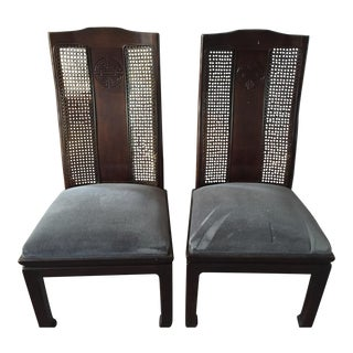 Bernhardt Asian Style Cane Dining Chairs- A Pair