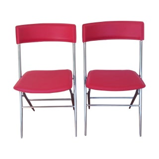 Red Leather and Chrome Folding Chairs - a Pair