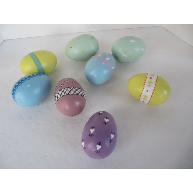 Hand Painted Wood Easter Eggs - Set of 8 - Image 2 of 5