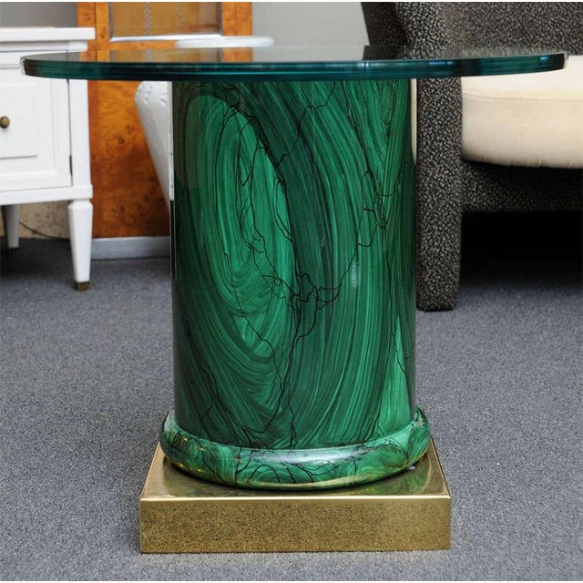 Sleek Modern Classic Malachite Column Side Table - Image 2 of 8