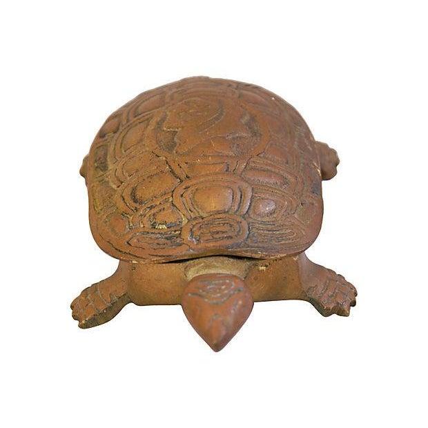 Image of Mid-Century Brass Turtle Keepsake Trinket Box