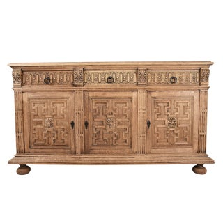 Traditional Antique French Renaissance-style Bleached Wood Buffet